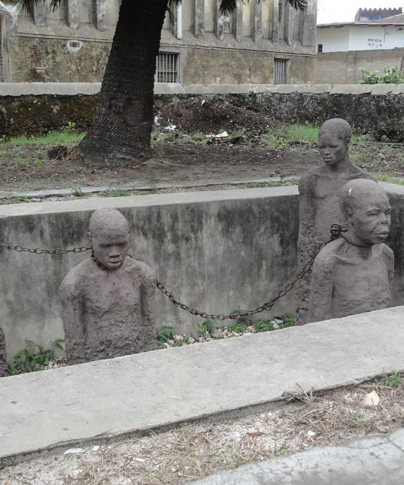 The sculpture of slavery in Zanzibar island that shows the way black people were sold like commodities